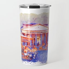 The Pantheon Rome Watercolor Streetscape Travel Mug