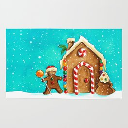 Christmas gingerbread party Rug