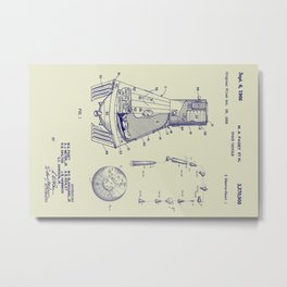 1966 NASA Apollo Mercury Space Capsule Patent Metal Print