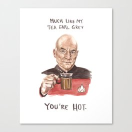 Captain Picard - Tea Earl Grey Hot Funny Illustration Canvas Print