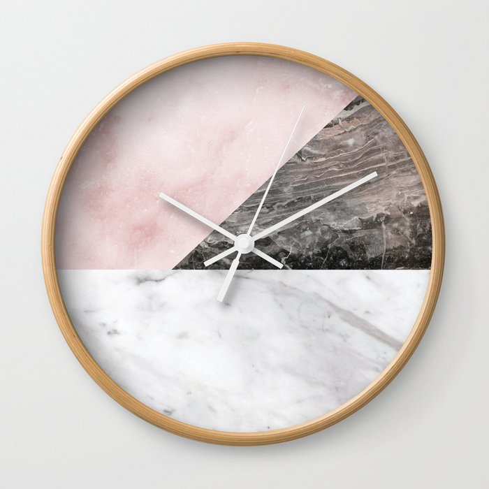 Smokey marble blend - pink and grey stone Wall Clock