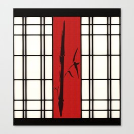 Shoji with bamboo ink painting Canvas Print