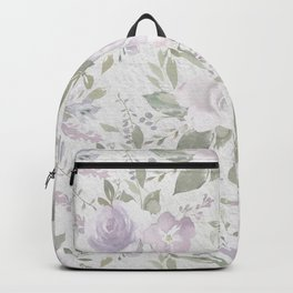 Modern vintage pastel lilac green watercolor floral Backpack