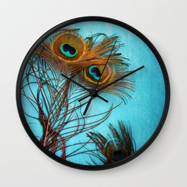 3 peacock feathers Wall Clock
