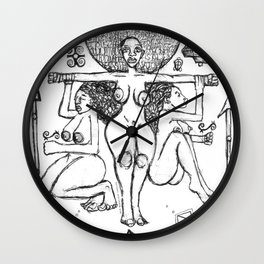 2013 Goddess of Balance (white design) art by Marcellous Lovelace Wall Clock