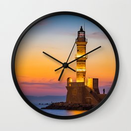Lighthouse at the old harbour in Chania, Greece Wall Clock