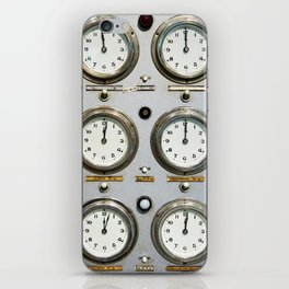 Retro clock faces on control panel iPhone Skin