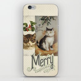 Merry Catmas vintage cat xmas illustration iPhone Skin