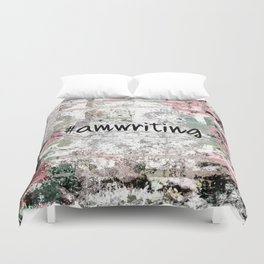 #Amwriting Floral Grunge Quote Duvet Cover