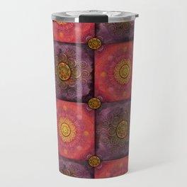 """""""Moroccan chess Strawberry & Purple Pattern"""" Travel Mug"""