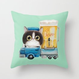 A cat in a beer truck Throw Pillow