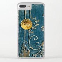 Original Art - A Piece of Versailles Blue & Gold Gilding Art Block Clear iPhone Case