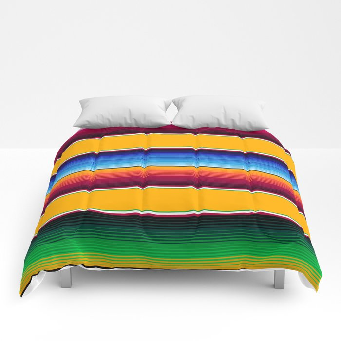 Traditional Mexican Serape in Yellow Multi Comforters
