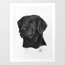 black Labrador retriever dog original art print Art Print