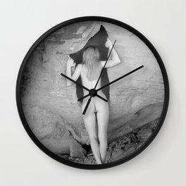 4094  Rear View B&W Nude Woman Naked Desert Feminine Classic Female Form Beautiful  Wall Clock