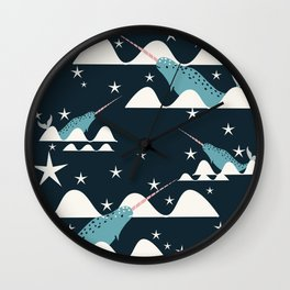 narwhal in ocean blue Wall Clock