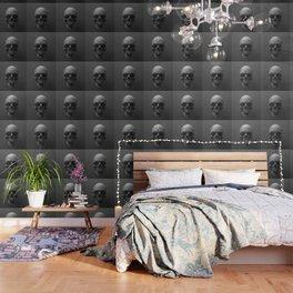 Geometric Grey Skull Lines Wallpaper