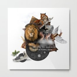 THE LION, THE WARDROBE AND THE FLYING SNAIL (Totem of the Lion) Metal Print
