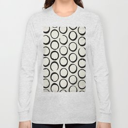 Polka Dots Circles Tribal Black and White Long Sleeve T-shirt