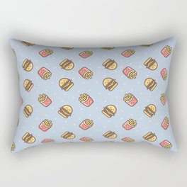 Cute pink brown blue funny fries burger food triangles pattern Rectangular Pillow