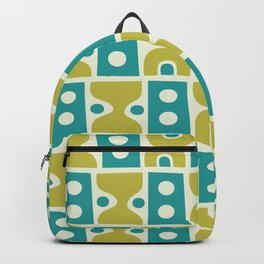 Funky Mid Century Modern Pattern 773 Turquoise and Chartreuse Backpack