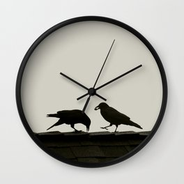 Two Crows on a Rooftop - Graphic Birds Series, Plain - Modern Home Decor Wall Clock