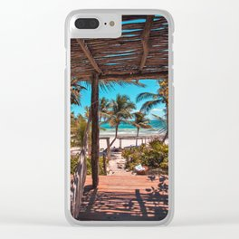 Cabana view of the Beach (Color) Clear iPhone Case