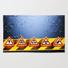 Grunge Background With Warning Signs Rug