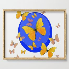 YELLOW BUTTERFLIES SWARM & BLUE RING MODERN ART Serving Tray