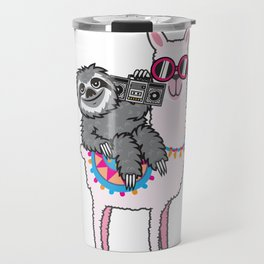 Sloth Music Llama Travel Mug