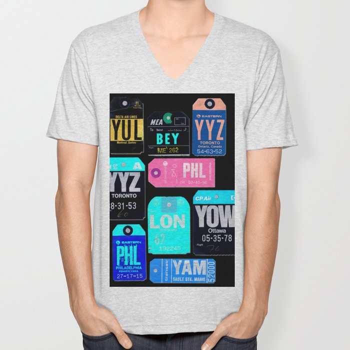 Vintage Inverted Luggage Tags 1 Unisex V-Neck