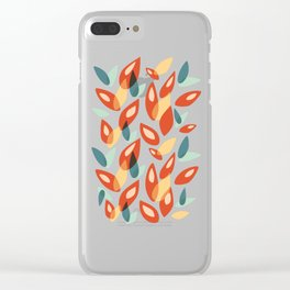 Orange Blue Yellow Abstract Autumn Leaves Pattern Clear iPhone Case