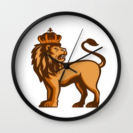 King Lion Crown Looking Side Retro Wall Clock
