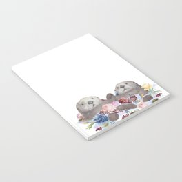 Sea Otters Holding Hands, Love Art Notebook