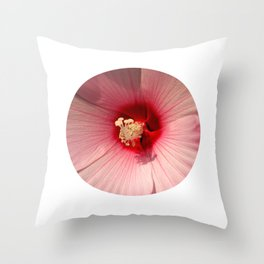 Pink Hibiscus Close-up Flower Photography Throw Pillow