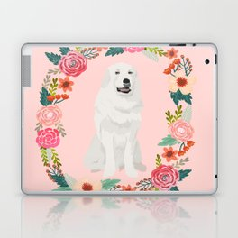 great pyrenees dog floral wreath dog gifts pet portraits Laptop & iPad Skin