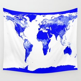 World map Blue & White Wall Tapestry