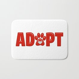 Shiny Red ADOPT Animal Paw Print with  White Heart Bath Mat