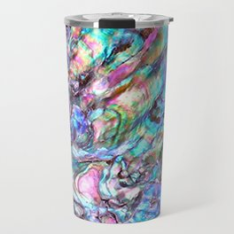 Shimmery Rainbow Abalone Mother of Pearl Travel Mug