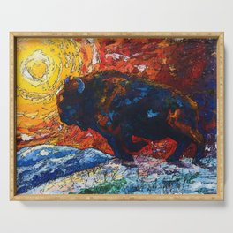 Bison Running print of OLena Art Wild the Storm Oil Painting With Palette Knife #society6 Serving Tray