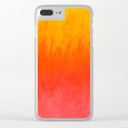 Coral, Guava Pink Abstract Gradient Clear iPhone Case