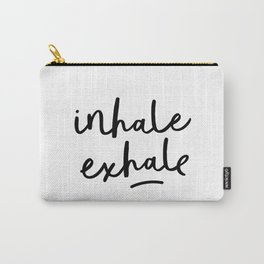 Inhale Exhale black and white contemporary minimalism typography print home wall decor bedroom Carry-All Pouch