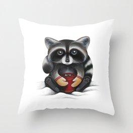 Raccoon with Hot Chocolate Throw Pillow
