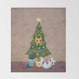 Meowy Christmas Throw Blanket