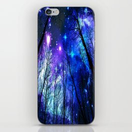 black trees purple blue space iPhone Skin