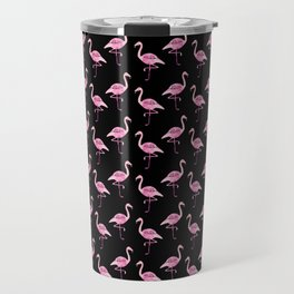 Pink Flamingos Pattern & Black Travel Mug