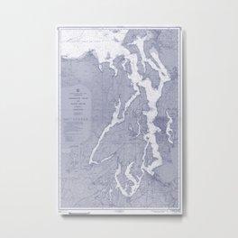 Puget Sound Washington State Nautical Chart Map Print 1956 Blue, Map Art Prints Metal Print