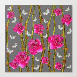 WHITE BUTTERFLIES & PINK ROSE THORN CANES  GREY ART Canvas Print