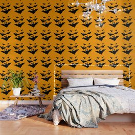 Cool cute Black Flying bats Halloween Wallpaper