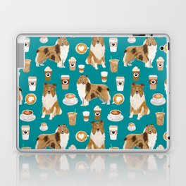 Rough Collie coffee pet portrait dog art by pet friendly latte coffee dog lover gifts Laptop & iPad Skin